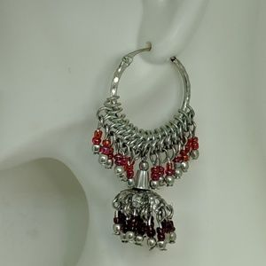 Jewelry - Long Silver Red Bead Statement Boho Hoop Earrings